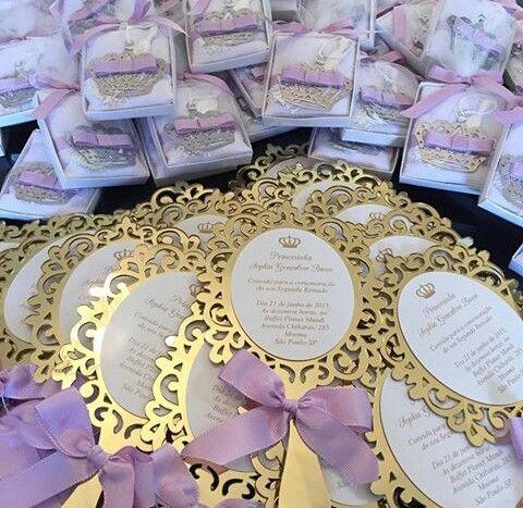 prinsessen uitnodiging zelfgemaakt spiegeltje