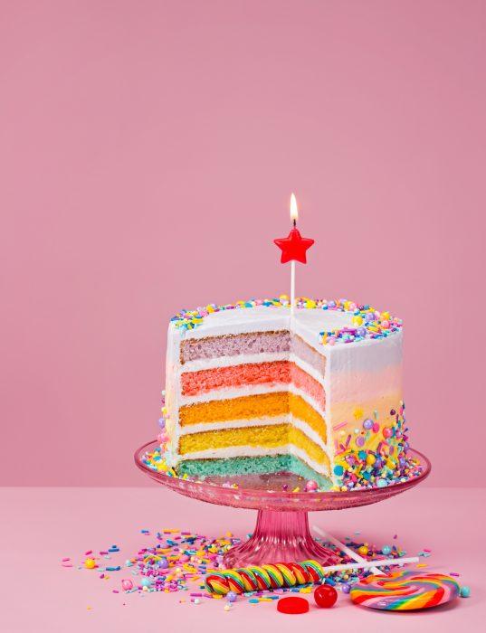 regenboog taart kinderfeestje