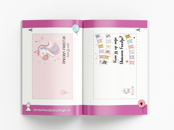 Draaiboek unicorn eenhoorn kinderfeestje uitnodigingen printen